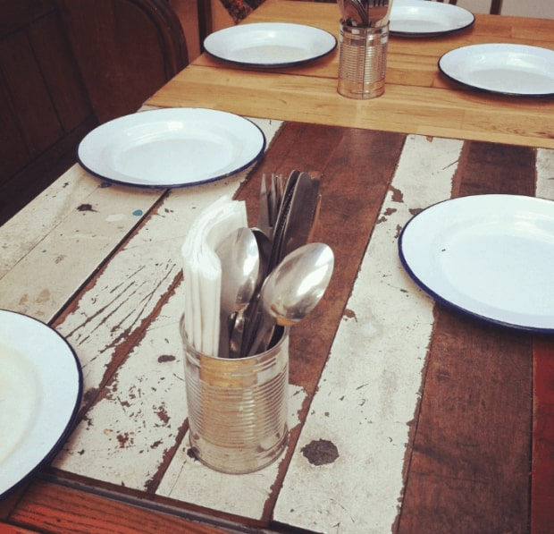Tin can cutlery holder and floor board tables