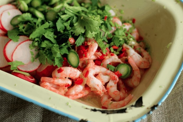 prawn ceviche with asparagus and radishes