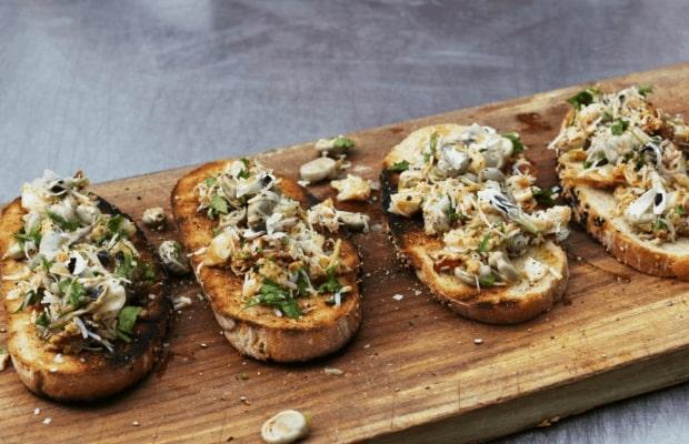 BBQ crab bruchetta- a recipe from the natural cook