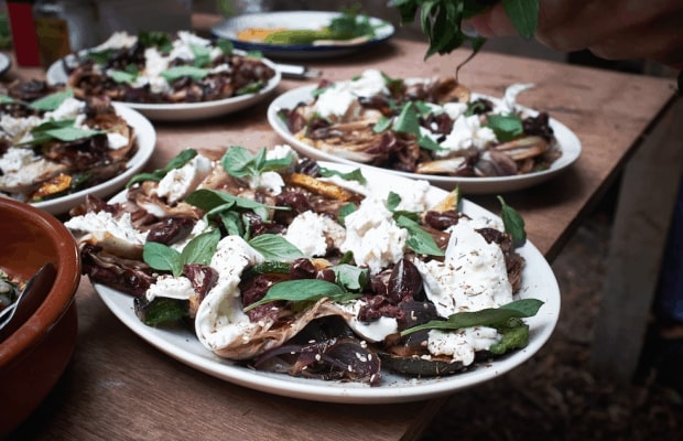 The Natural Cook Char-Grilled Courgette, radicchio, olives and mozzarella