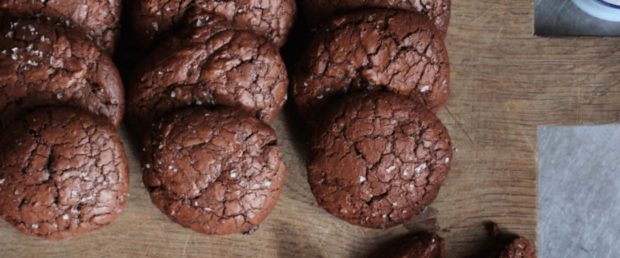 Chocolate salted rye cookies