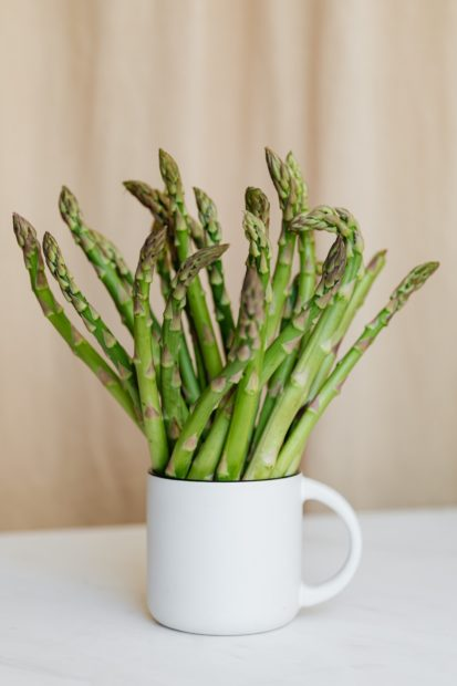 Asparagus bunch in a cup